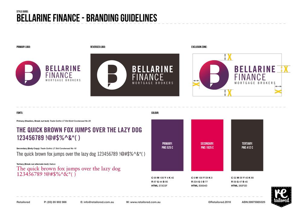 Bellarine Finance style guide, Retailored, creative, design, graphic design