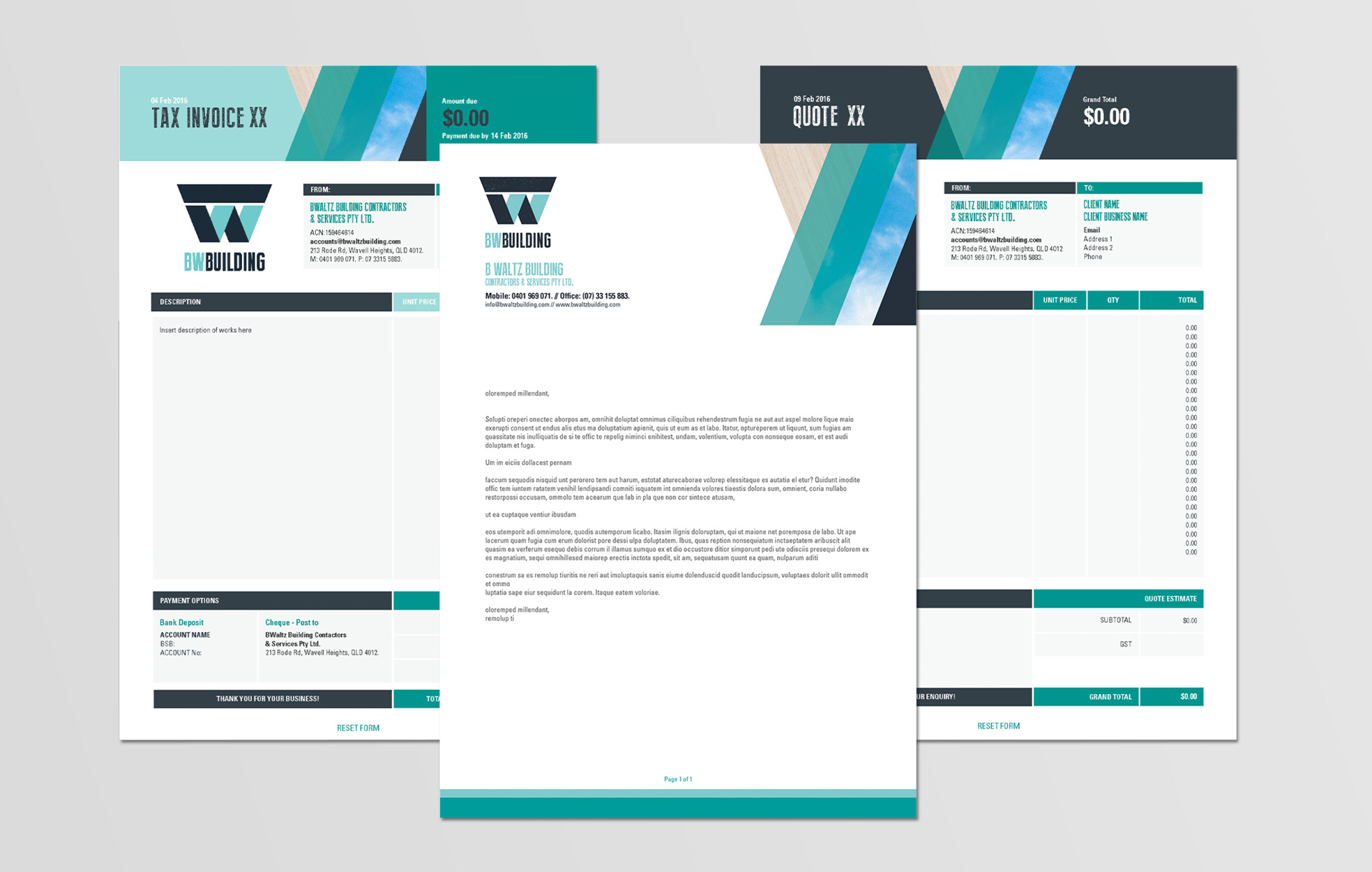 BWBuilding, Invoice, Quote, Templates, Retailored, creative, design, graphic design