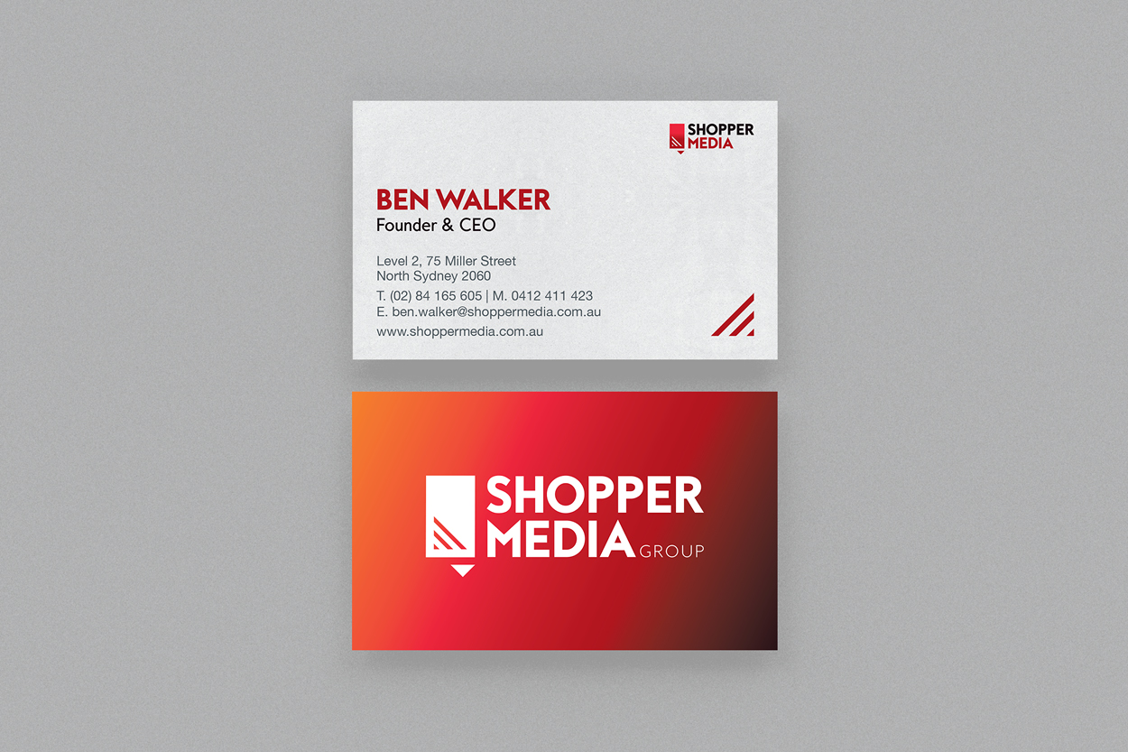 Shopper Media Group, business cards, Retailored, creative, design, graphic design